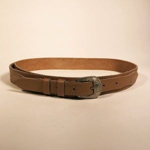 Western Style Tan Leather Belt
